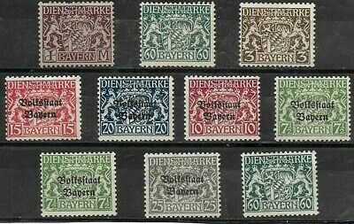 Germany Bavaria - Bayern; Good Lot 10 Un-Used Government Stamps,1916-19..