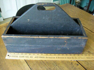 Antique Farm Primitive Wooden Kitchen Tool Box Wine Carrier Tote Carpenter Caddy