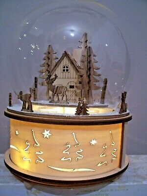 Gisela Graham Large Light Up Revolving Musical Christmas Fretwork Base Globe