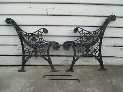 Cast iron bench seat ends.  Outdoor garden chair seat