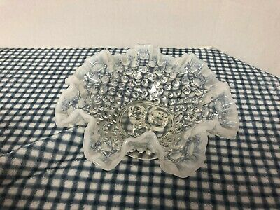Hobnail Clear Milk White Glass Candle Holder Bowl, No Chips No Cracks