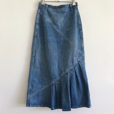 vintage 80s 90s denim midi skirt ruffle pleat flare hem