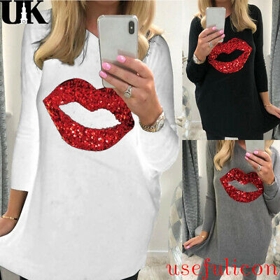 Women Lips Sequin Long Top Ladies Long Sleeve Autumn Loose Pullover Blouse 10-16