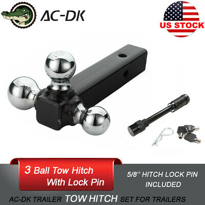 AC-DK 3 Balls Trailer Tow Hitch Ball Towing  Including 5/8'' Hitch Locking Pin
