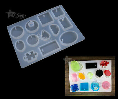 12 Silicone Mould Mold Block DIY Resin Round Necklace Jewelry Pendant Make Tool