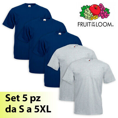 5 MAGLIETTE UOMO FRUIT OF THE LOOM VALUEWEIGHT - MANICA CORTA da S a 5XL