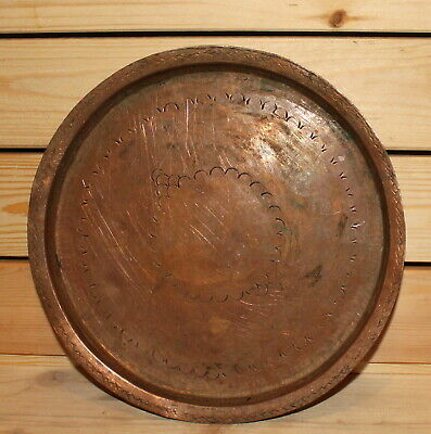 Antique hand made wrought copper serving tray