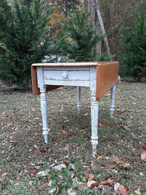 Antique 1800's Pine Wood Drop Leaf Farmhouse Painted Distressed Table w/ Drawer