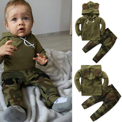 UK Infant Newborn Baby Boy Clothes Camo Hoodie Tops Pants Outfits Set Tracksuit
