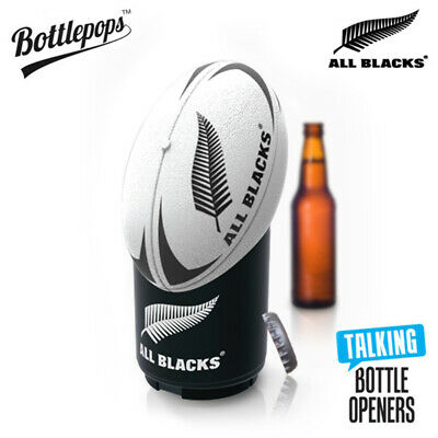 Bottlepops All Blacks Rugby Football Talking Bottle Opener