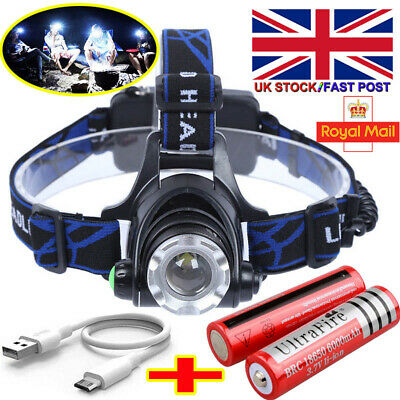 Rechargeable Tactical 120000LM T6 LED Headlamp 18650 Headlight Head Torch Light`