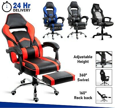 Executive Racing Gaming Computer Office Chair With Footrest Desk Leather Swivel