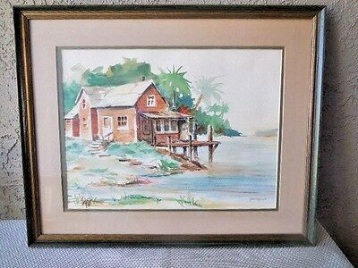 "Painting Original Watercolor Beach  Signed by Artist Jolene Brown 21"" x 17"""