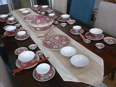 56 PCS.CHINESE ROSE MUN SHOU famille 'DOUBLE HAPPINESS' Dinner Tea Cups/Saucers