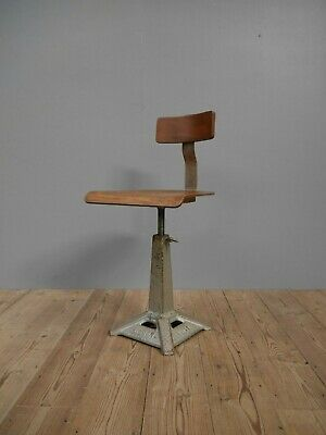 Original Vintage Industrial Antique Singer Machinist Chair Stool Factory