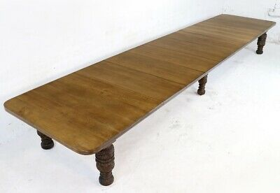 Antique Edwards & Roberts Victorian 20ft Oak Extending Dining Table & 7 Leaves