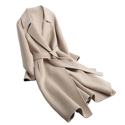 High-end Cashmere Women Winter Wool Coat Belt Lapel Outerwear Jacket Long Trench