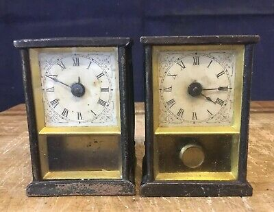 """PAIR ANTIQUE MINIATURE NICKEL YALE CARRIAGE CLOCK Co WIND-UP 3"""" FOR RESTORATION"""