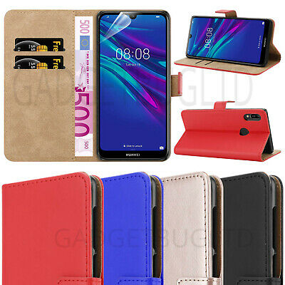 Case For Huawei Y6 2019 Real Genuine Leather Shockproof Wallet Flip Cover