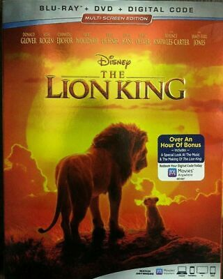 The Lion King (Blu-Ray + DVD + Digital, 2019) w/ Slipcover Like New