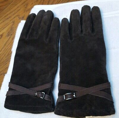 Womans Leather Brown Gloves Size L