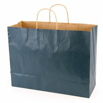 Navy Blue Kraft Large Shopping Bags 16 W x6 D x12 H Inches - Case of 100