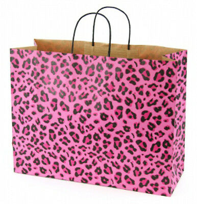 Leopard Pink Kraft Large Shopping Bags 16 x 6 x12 Inches - Case of 100