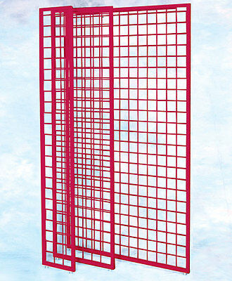 Framed Gridwall Panel 84x24 Inches in Red - 4 pc