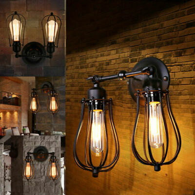Vintage Industrial Wall Mounted Wire Light Cage Rustic Sconce Lamp Shade C3S7R