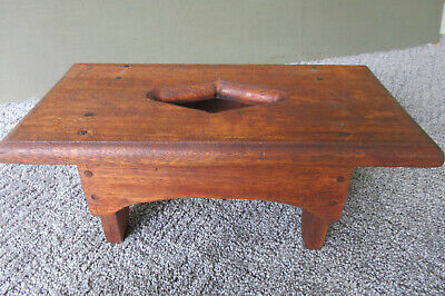 "Antique Foot Stool Vintage Primitive Wood 15"" Footstool, Pegged, Diamond Cut-Out"