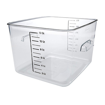 Plastic Space Saving Square Food Storage Container Sous Food Prep 12 Quart Clear