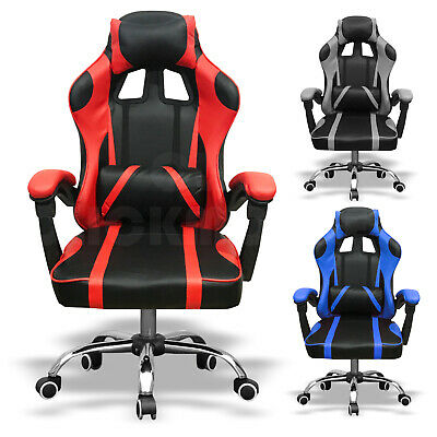 Racing Office Chair Gaming Computer Desk PU Leather Swivel Adjustable Recliner