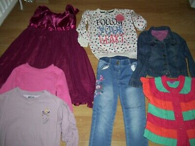 Girls winter bundle of clothing.Age 5-6 years.Party dress, jacket, jeans, tops.