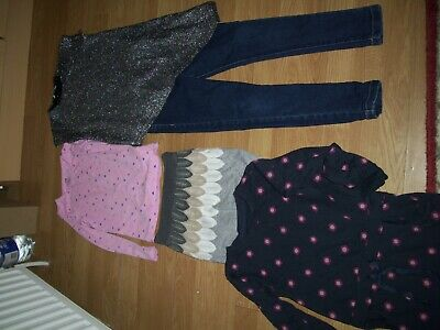 Girl's winter bundle of clothing.Age 7-8 years.Tops, jeggings, dress, skirt.