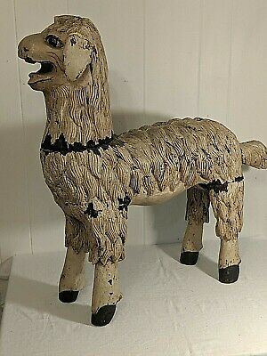 Gorgeous Large Antique Carved Wood Painted Sheep Lamp Nativity Folk Art