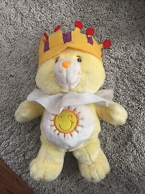 "Rare 2005 Official Care Bears 12"" King Funshine Bear - Soft Plush Toy / Teddy"