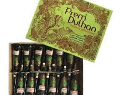 24 Natural Prem Dulhan Brown Temporary Tattoo Henna Paint Cones + FREE GIFT