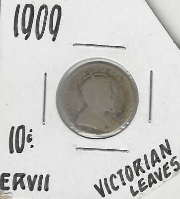 Canadian 1909 Dime Victorian Leaves .925 Silver ...Take A Look !!!