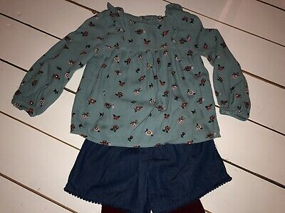 Girls M&S Top, Shorts And Tigjts Set 2-3 Yrs