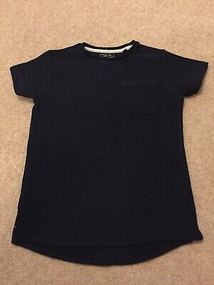 Boys NEXT T-Shirt Age 8 Years Navy Blue Short Sleeved Textured