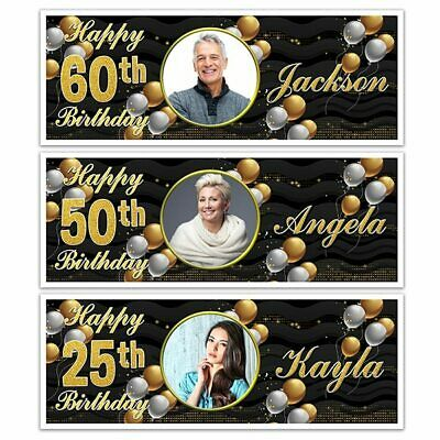 X 2 Personalised Happy Birthday Name Photo Party Banners Add Any Age Mens Ladies