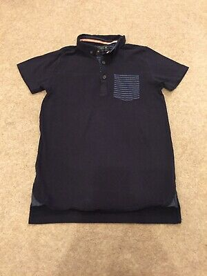 Boys NEXT T-Shirt Age 8 Years Navy Blue & Striped Short Sleeved