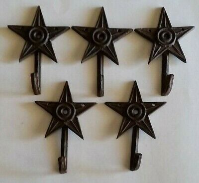 """5 SMALL 6"""" BROWN STAR WALL HOOKS ANTIQUE-STYLE CAST IRON western rustic hat coat"""