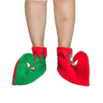 Xmas Green Red Elf Jester Pixie Boots Christmas Shoes Fancy Costumes