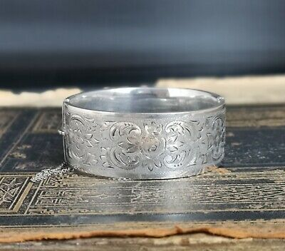 Antique silver bangle, chunky Victorian sterling bracelet, aesthetic