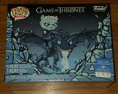 Funko Pop Game of Thrones #22 Icy Viserion Glow in Dark & T-Shirt Box Lunch Ex