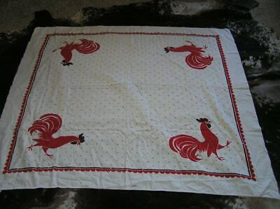 """Vintage 50's Tablecloth California Hand Print RED ROOSTER Mid Century 56"""" x 48"""""""