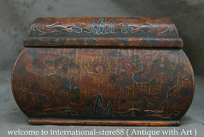 "12"" Old Chinese lacquerware Wood Two Dragon Storage Food treasures Jewelry Box"