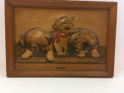 Vintage 1940 Susie cat & puppies 3D Picture BEAUTIFUL