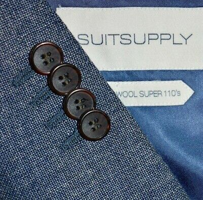 40R Suitsupply Napoli Gray Blue Hint Hopsak like Reda SUIT Flat Front 34 LNWOT
